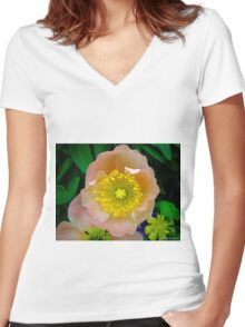 pink & yellow flower Women's Fitted V-Neck T-Shirt