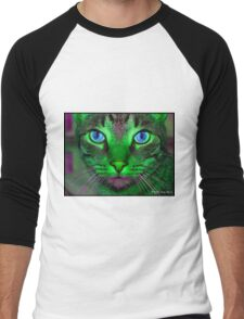 green & purple cat Men's Baseball ¾ T-Shirt