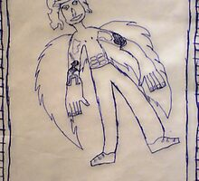 6pack tummy winged man, by 9year old Zooty by Teresa Schultz