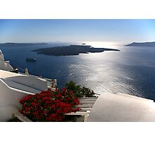 Santorini cruise liner and volcano Photographic Print