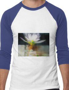white flower reflection Men's Baseball ¾ T-Shirt