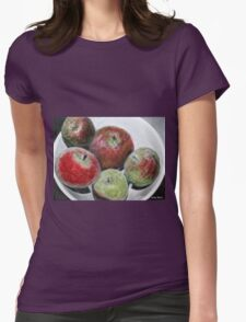 Fruit in bowl mixed media Womens Fitted T-Shirt