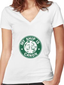 Starbucks/My Ship Is Canon- Destiel Women's Fitted V-Neck T-Shirt