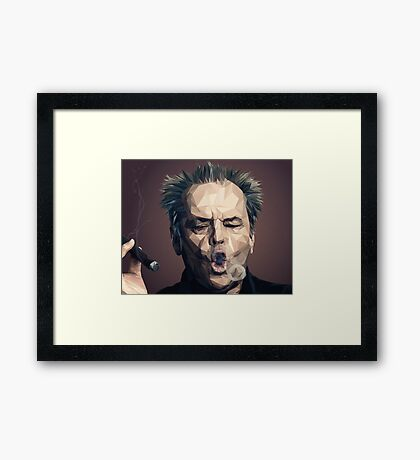 Jack Nicholson - Low poly Framed Print