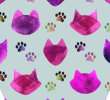 Watercolor Cat Heads - shades of pink & purple on pale blue  Sticker
