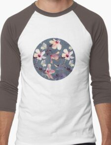 Butterflies and Hibiscus Flowers - a painted pattern Men's Baseball ¾ T-Shirt