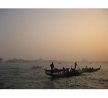 Venice Canal Gondolas at Sunset Photographic Print