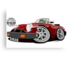 MG MGB 'rubber bumper' caricature dark red Canvas Print