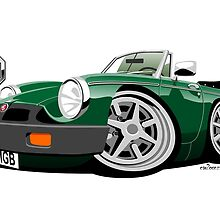 MG MGB 'rubber bumper' caricature green by car2oonz