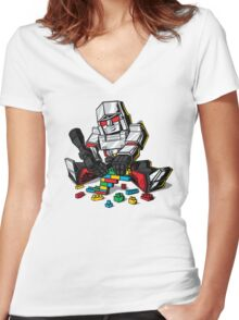 Megablocks Women's Fitted V-Neck T-Shirt