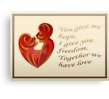 Together We Have Love Greeting  Canvas Print