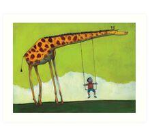 Giraffe Swing Art Print
