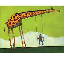 Giraffe Swing Photographic Print