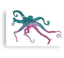 Vector illustration with octopus Canvas Print