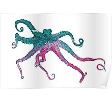 Vector illustration with octopus Poster