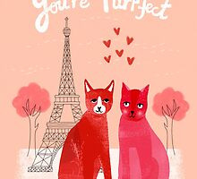 You're Purrfect - Cute pink cats in Paris for Valentines Day by Andrea Lauren by Andrea Lauren