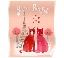 You're Purrfect - Cute pink cats in Paris for Valentines Day by Andrea Lauren Poster
