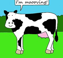I'm moving, new home/house/premises cartoon cow. by KateTaylor