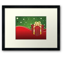 Red gift box with golden bow  Framed Print