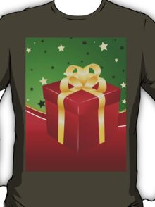 Red gift box with golden bow  T-Shirt