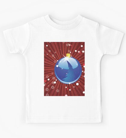 Blue Christmas ball on red background Kids Tee