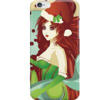 Santa girl in green corset iPhone Case/Skin