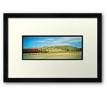 little red railway carriage and slag heap... Framed Print