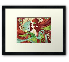 Santa girl in green corset Framed Print