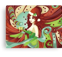 Santa girl in green corset Canvas Print