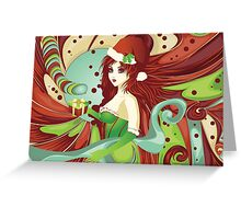 Santa girl in green corset Greeting Card