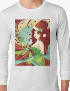 Santa girl in green corset Long Sleeve T-Shirt