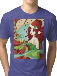 Santa girl in green corset Tri-blend T-Shirt