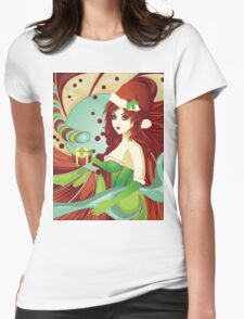 Santa girl in green corset Womens Fitted T-Shirt