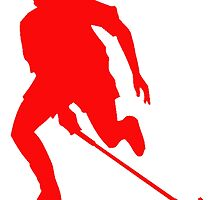 Red Field Hockey Player Silhouette by kwg2200