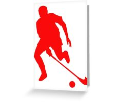 Red Field Hockey Player Silhouette Greeting Card