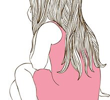 Little girl in a pink dress sitting back hair by OlgaBerlet