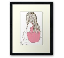 Little girl in a pink dress sitting back hair Framed Print