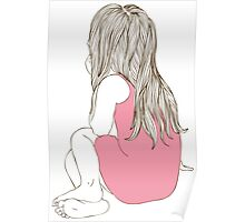 Little girl in a pink dress sitting back hair Poster
