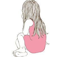 Little girl in a pink dress sitting back hair Photographic Print