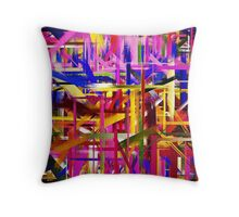 Abstract Paint Color Splatter Brush Stroke Throw Pillow