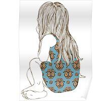 Little girl in a dress sitting back hair Poster