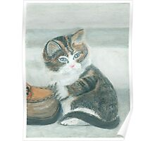 Cat and shoe - Oil Pastels Poster