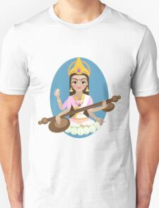 Hindu Goddess Saraswati. Vector hand drawn illustration. T-Shirt