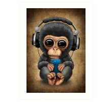 Chimpanzee Dj with Headphones and Cell Phone Art Print