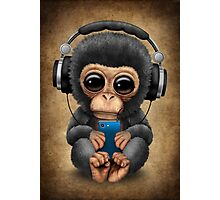 Chimpanzee Dj with Headphones and Cell Phone Photographic Print