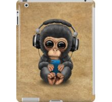 Chimpanzee Dj with Headphones and Cell Phone iPad Case/Skin
