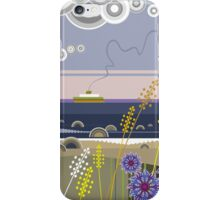 Sea landscape with wildflowers and ferry boat iPhone Case/Skin