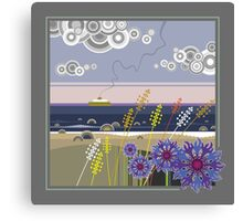 Sea landscape with wildflowers and ferry boat Canvas Print