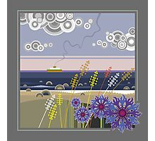 Sea landscape with wildflowers and ferry boat Photographic Print