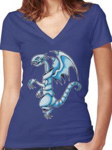 The Blue-Eyes White Dragon Women's Fitted V-Neck T-Shirt